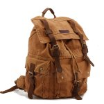 Koolertron Multi-Function Vintage Canvas Leather Hiking Travel Military Backpack / Messenger Tote Bag / Video Portable Carry Case Brown