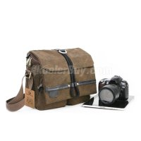 Koolertron Brown Canvas Camera Shoulder Bag Video Portable Carry Case Fit 10-inch Tablet PC