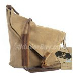 Koolertron Vintage Canvas Genuine Leather Cross Body Bags Satchel Shoulder Messenger Traveling Bag