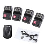 Koolertron 16 Channel Wireless Radio Flash Trigger SET 1 Transmitter + 4 Receivers +2.5mm PC Receiver Cable for Canon 6D 7D 70D Rebel XS T5i T4iNikon D600 D300S D300