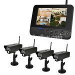 "Koolertron 4CH CCTV 4 Indoor IR Security Camera Surveillance Digital Wireless Camera & QUAD DVR System With 7"" LCD Screen"