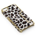 Koolertron Golden Deluxe Leopard grain style Clip On Hard Back Case Cover For New iPhone 5