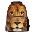 Koolertron Boys Girls Unisex's Vivid 3D Animals Print Daypack of Lion Personalized Backpack School Bag with Environmental Felt Fabric and Polyester Material