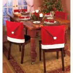 Set of 12 Chair Back Covers Santa Clause Red Hat Christmas Kitchen Dinner Decor