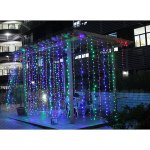 Fuloon 8M x 3M 800 LED Outdoor Party christmas String Fairy Wedding Curtain Light 8 Modes for Choice 220V