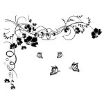 Fuloon Large Vine Flower Butterfly Wall stickers Wall decal--Black 200CM*150CM
