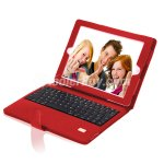 Koolertron Red New High Quality Detachable Bluetooth Wireless Keyboard PU Leather Case Cover For New iPad 3
