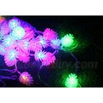 Fuloon 220V Waterproof 10M 38 LED Christmas Tree Fairy Pine Cone String Party Wedding Decor Light