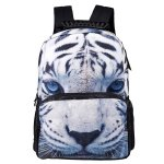 Koolertron Boys Girls Unisex's Vivid 3D Animals Print Daypack of White Tiger Personalized Backpack School Bag with Environmental Felt Fabric and Polyester Material