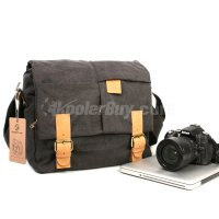 Koolertron Rush R6723 Black Canvas Camera Shoulder Bag Portable Video Camera Case fit 14-inch PC