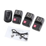 Koolertron 16 Channel Wireless Radio Flash Trigger SET 1 Transmitter + 3 Receivers +2.5mm PC Receiver Cable for Canon 6D 7D 70D Rebel XS T5i T4iNikon D600 D300S D300