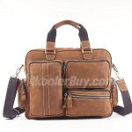 "Koolertron New Casual Multi Pockets Cowhide Genuine Leather 14"" Laptop Bag Messenger Bag Shoulder Bag Cross Body Bag Sling Bag for Men and Women's"