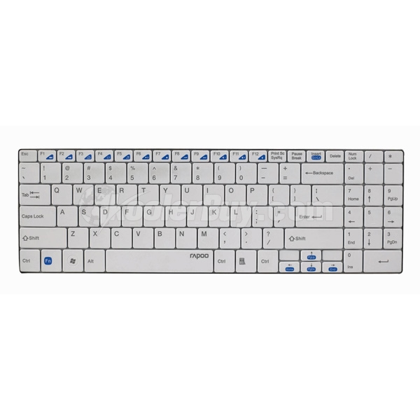 Koolertron Rapoo E9070 White Blade Series 2.4Ghz Wireless 5.6mm Ultra-Slim Stainless Steel Plate Keyboard