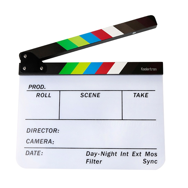 Koolertron Acrylic Plastic Dry Erase Director's Film Clapboard with Color sticks(9.85 x 11.8 Inch)