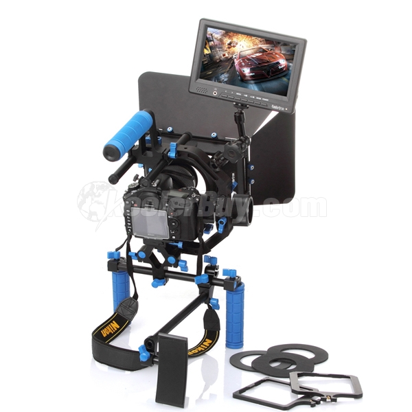 "Koolertron Pro DSLR Video Movie Kit PAD Shoulder Mount+C Shape Support Cage+Top Handle+2 Hand Grips With 15mm Rail Rods+7"" Magic Arm+Follow Focus+Matte Box+7"" DSLR Monitor"