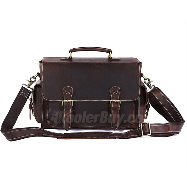 Men's Vintage Leather Camera Bag Shoulder Messenger Bag Fit DSLR with 2 lenses For Canon Sony Nikon Canon Olympus And So On