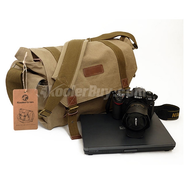Koolertron F1005 Yellow Canvas DSLR Camera Shoulder Bag For Sony Canon Nikon Olympus