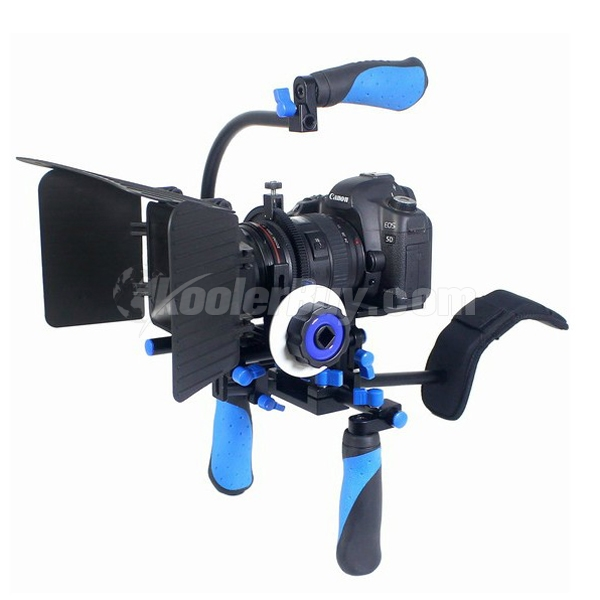"Koolertron DSLR/VCR Rig Shoulder Mount Rig+Follow Focus+Matte Box+C-Shape Bracket+Top Handle Grip With 1/4"" Screws"