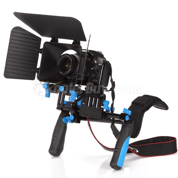 Koolertron DSLR Shoulder Mount Rig+Hand Grip+Follow Focus+Matte Box+Adjust Platform 15mm Rod Rail Video Movie Kit Combination
