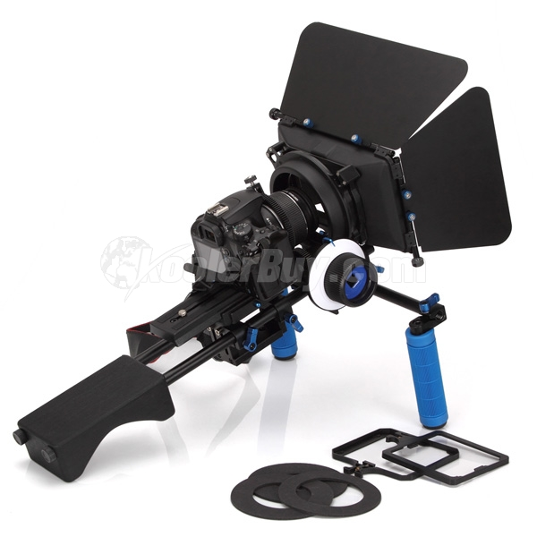 Koolertron DSLR Shoulder PAD Support Mount Rig+Hand Grip+Follow Focus+Digital Matte Box M3 Video Movie Kit For DV HDV HD Camcorder