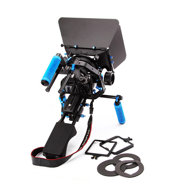 Koolertron DSLR Shoulder PAD Support Mount Rig+Hand Grip+Half Round Follow Focus Finder With Gear Belt+Digital Matte Box M3 4x4 +Pro C Shape Support Cage+Top Handle Video Movie Kit Combination