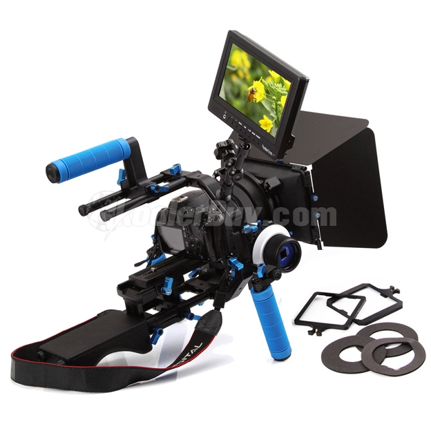 Koolertron Pro DSLR Video Movie Kit Combination Shoulder Support Mount Rig+Hand Grip+F4 Follow Focus Finder+M3 Matte Box+C Shape Support Cage+Top Handle+Magic Arm+Camera Video Monitor