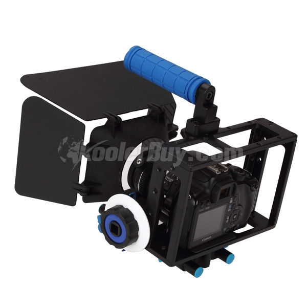 Koolertron Video Movie Kit DSLR Camera CAGE RIG+Top Handle+15mm Aluminum Rod Block Plate+Follow Focus+Matte Box