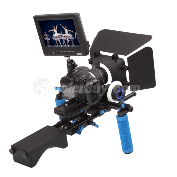 "Koolertron Pro DSLR Video Movie Kit Combination Shoulder Support Mount Rig+ Follow Focus Finder+Matte Box+7"" Video Camera Monitor"