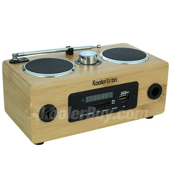 Koolertron Eco-friendly Hand-made Mini Portable Bamboo Wood Boombox Card Speaker With Radio Function Back to Nature