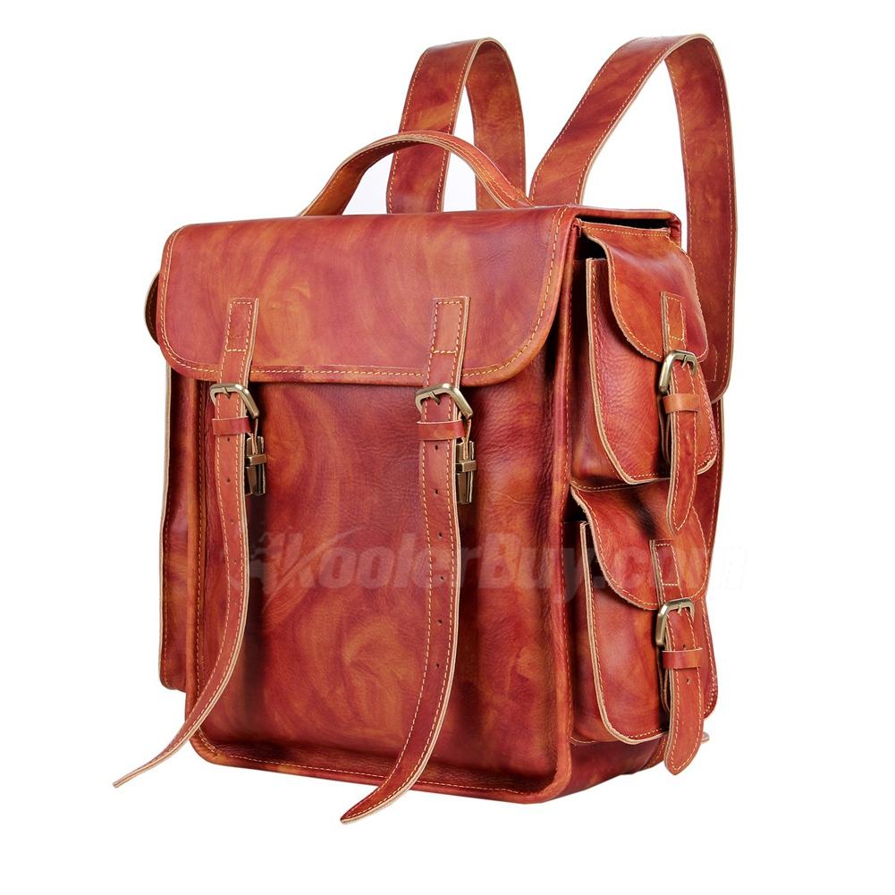 2015 New Vintage Genuine Crazy Horse Leather Backpack Handbag ...