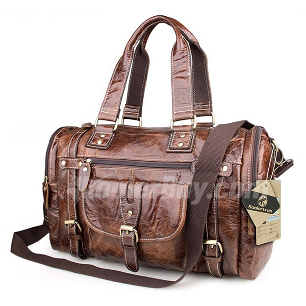 Koolertron 2015 New Design 20 Liter 17 Inch Genuine Leather Vintage Retro Style Duffle Sports GYM Travel Luggage Handbag Shoulder Bag Suitble for Camping and Outdoor Activties