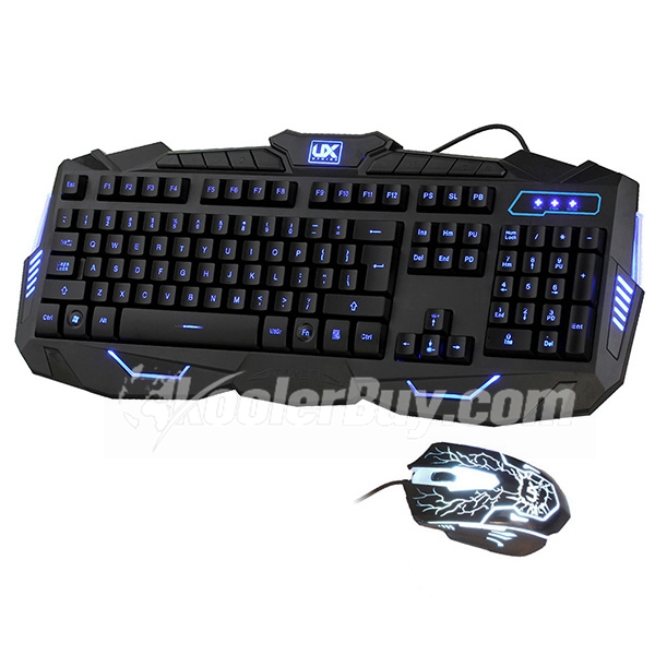 Ergonomic Three Color Adjustable Luminous with Purple Red Blue Gaming Keyboard and Mouse Combo Set for Windows 98/XP/2000/ME/VISTA/Win7/Win8