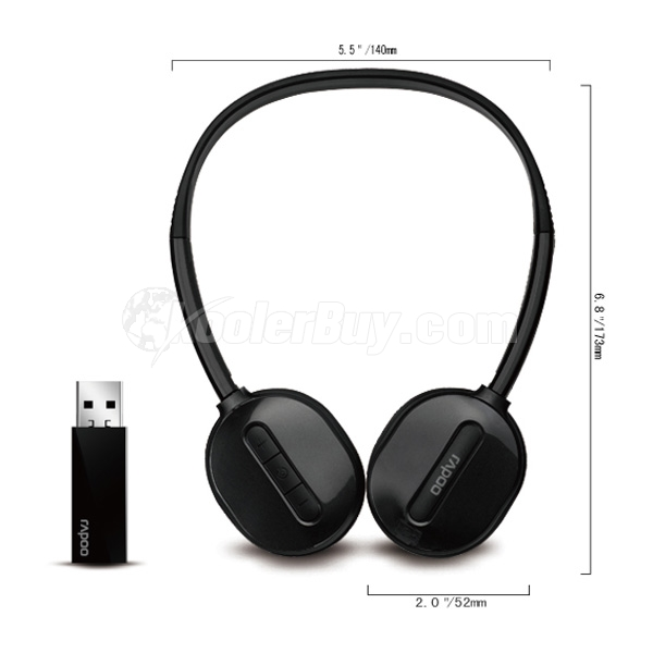 Koolertron Rapoo Rechargeable High-Fidelity 2.4G USB Wireless Stereo Headphone With Microphone H1030 - Black
