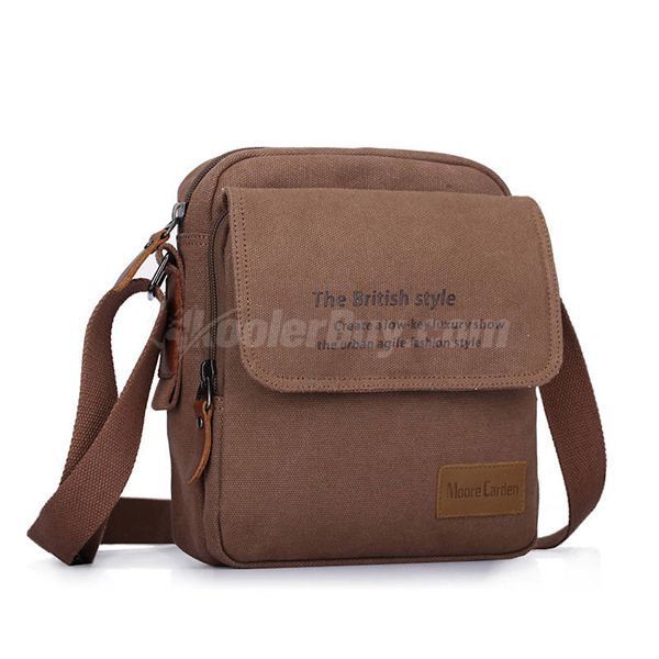 Moore Carden Coffee Simple Fashion Casual Canvas Shoulder Diagonal Bag