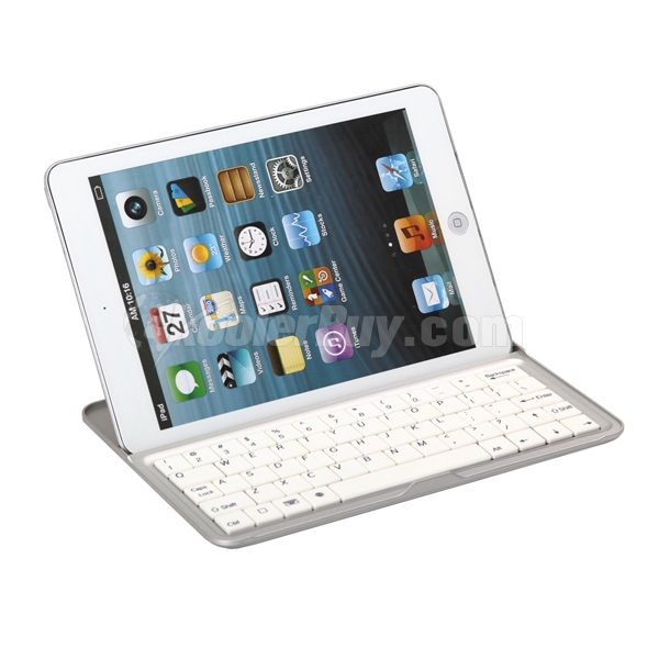 Koolertron White Wireless Bluetooth Aluminum Keyboard Stand/Case For iPad Mini
