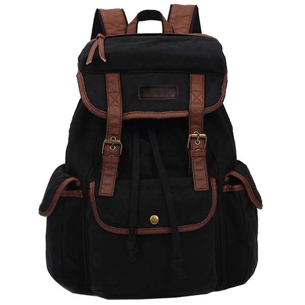 Cheap Koolertron Vintage Women Men Canvas Backpack Leather Trim ...