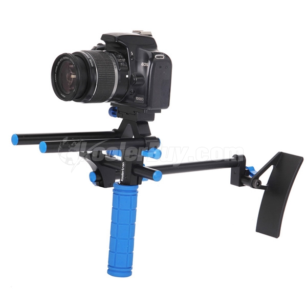 Koolertron DSLR Shoulder PAD Support Mount+1 Hand Grip With 15mm Rail Rods For Canon Nikon Sony