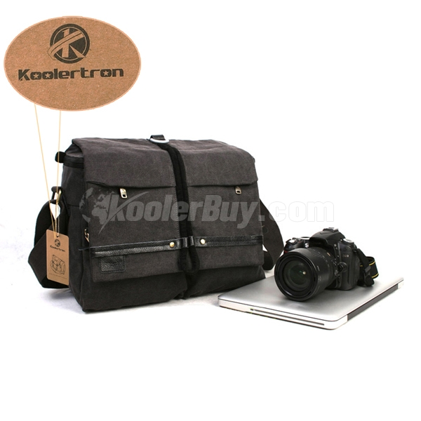 Koolertron Black Canvas Camera Shoulder Bag Video Portable Carry Case Fit 14-inch Tablet PC