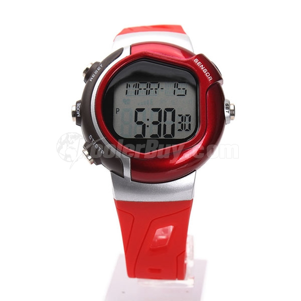 Pellor Red Waterproof Pulse Fitness Heart Rate Calorie Burn Unisex Sports Wrist Watch NEW