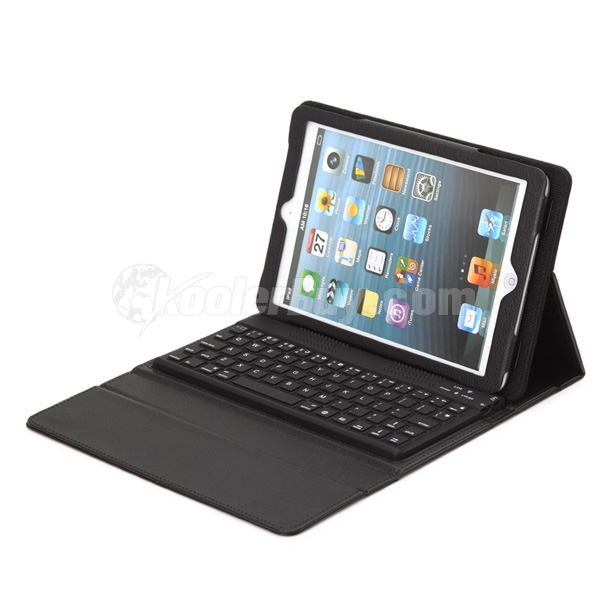 Koolertron Silicone Bluetooth Keyboard PU Leather Case Cover Stand for iPad Mini