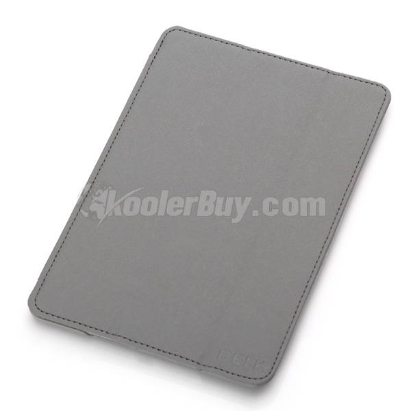 Koolertron Grey PU Leather Case Cover With Triangle Stand For iPad Mini