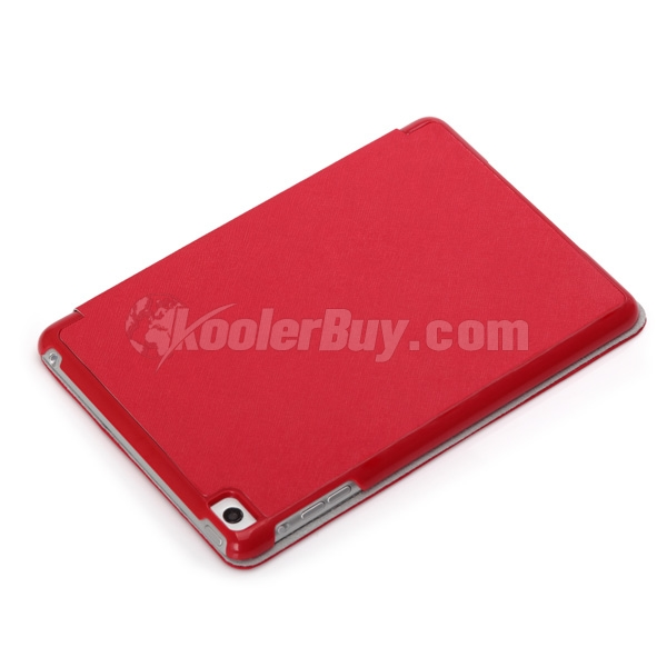 Koolertron Red PU Leather Case Cover With Triangle Stand For iPad Mini