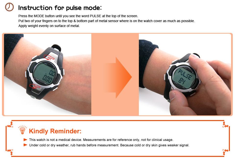 pulse heart rate monitor pedometer
